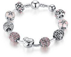 "Bamoer European Fashion ""Love Amor"" Personalised Engraved Crystal Charm Beads Bangles Bracelet Jewelry for Girls Mom 20cm 7.87"""
