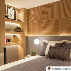 "@ficaadica_arqinteriores on Instagram: ""#Repost @negrellieteixeira • • • • • Detalhes de marcenaria... uma das características do nosso trabalho.... #luxuryhomes #homedecor…"" Serene Bedroom, Bedroom Bed, Beautiful Bedrooms, Home Decor Bedroom, Modern Bedroom, Interior Exterior, Home Interior Design, Interior Architecture, Home Garden Design"