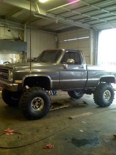 Grey lifted Chevy