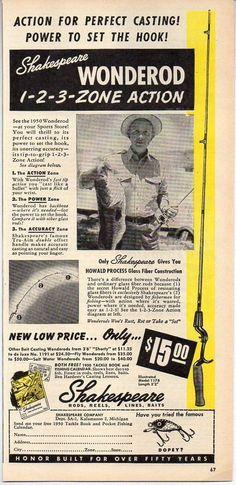 1950 Vintage Ad Shakespeare Wonderod Fishing Rods Fisherman & Trophy Bass #Paper
