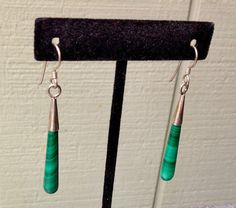 Vintage Malachite Green Pierced Earrings by FancyThatBlingCo