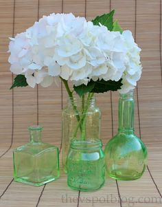 The V Spot: An easy upcycle project: tinted glass bottles and jars.
