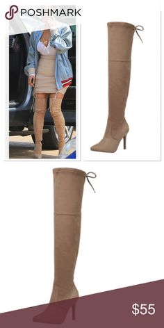 🍂Taupe high knee boots🍂 Can you pull off Kim's Sexy look?   These beautiful boots are coming in by Friday 9/16/16 please 😍 please comment your size below.                                                               Sizes available 5-10 Shoes Over the Knee Boots