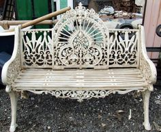 adirondack chair kits lowes used kitchen table and chairs vintage victorian white ornate wrought iron indoor or outdoor barstool | absolutely my ...