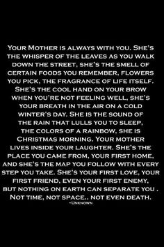 How meaningful this is to someone who has lost a mother.