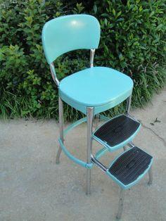 Vtg 1950s Pastel Turquoise Cosco Kitchen Step Stool Chrome Retro Aqua Blue Chair   eBay