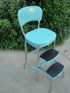 Vtg 1950s Pastel Turquoise Cosco Kitchen Step Stool Chrome Retro Aqua Blue Chair