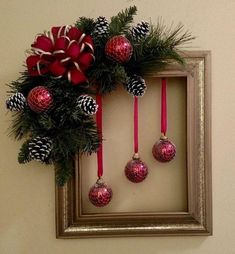 Last Minute DIY Christmas Decorations on a Budget - Picture Frame Wreaths - Ch. - Last Minute DIY Christmas Decorations on a Budget – Picture Frame Wreaths – Christmas - Christmas Centerpieces, Diy Christmas Ornaments, Holiday Crafts, Ball Ornaments, Christmas Swags, Christmas Door, Homemade Christmas Wreaths, Large Christmas Wreath, Christmas Staircase