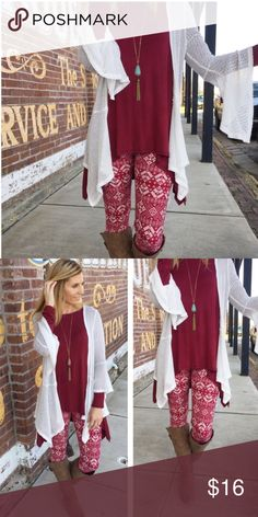 HP 12/21/16❄️️Burgundy Snowflake Leggings!❄️️ ❄️️Strut into winter with Comfort, Warmth, & Style in these Soft Brushed Burgundy Snowflake Leggings! These leggings style nicely with a Cardigan or a Tunic! These are a favorite among buyers & are going fast! 92% polyester, 8% spandex. One Size: S-L.❄️️ Boutique Pants Leggings