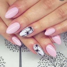 Top 70 beautiful palm tree nail designs - All For Hair Color Trending Cute Summer Nails, Cute Nails, Pretty Nails, My Nails, Summer Beach Nails, Summer Nails 2018, Acrylic Nail Designs, Acrylic Nails, Palm Tree Nails