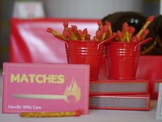 "Great idea for ""matches"" at this #firetruck #birthday"