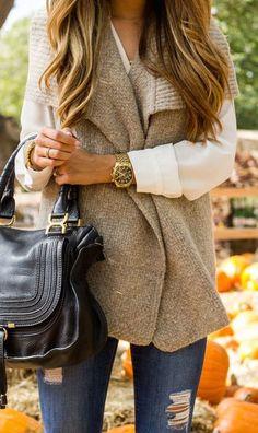 #fall #fashion / chunky knit vest