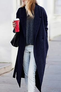 Women Fashion Casual Lapel Long Sleeve One Button Solid Straight Long Wrap Coat with Belt Navy Wool Coat, Blue Wool, Boyfriend Coat, Wrap Coat, Blue Coats, Long Sleeve, Casual, Clothes, Navy Blue
