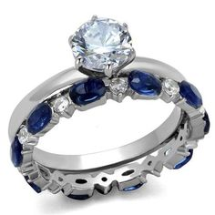 Perfect 1CT Round Cut Solitaire Russian Lab Diamond 14K White Gold Engagement Ring and Blue Sapphire Wedding Band Bridal Set