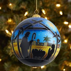 Celebrate the beautiful Nativity, depicted here on one of our exclusive Li Bien ornaments. Artists insert an L-shaped brush through a small opening and reverse paint the image by hand. Each ornament features a new design, is dated for collectibility and comes with its own handmade gift box.