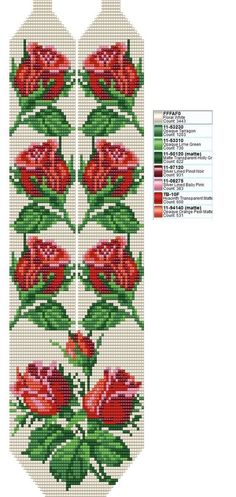 off loom beading techniques Beaded Cross Stitch, Cross Stitch Rose, Cross Stitch Flowers, Beaded Bracelet Patterns, Bead Loom Patterns, Beading Patterns, Beading Ideas, Beaded Embroidery, Cross Stitch Embroidery