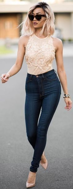 #streetstyle #casualoutfits #spring | Nude Embellished Bodysuit + High Waist Jeans | Micah Gianneli