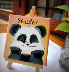Share a smile with the world :) Mini canvas + Easel 10 x 10 cms, diy disney paintings canvases Share a smile with the world :) Mini canvas + Easel 10 x 10 cms Small Canvas Paintings, Easy Canvas Art, Small Canvas Art, Cute Paintings, Mini Canvas Art, Canvas Draw, Love Canvas Painting, Diy Canvas, Panda Painting