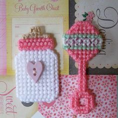 "Plastic Canvas: Baby Bottle and Rattle Magnets, ""Perfect Pink"" (set of 2) -- ""Ready, Set, Sew!"" by Evie"