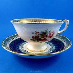 Stunning-Signed-F-Howard-Floral-amp-Cobalt-Blue-Hammersley-Tea-Cup-and-Saucer-Set