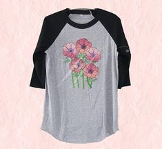 Anemone bouquet tshirt flower tee /raglan shirt/ sleeve tee size S M L XL plus size tshirt Anemone Bouquet, Grey Shirt, T Shirt, Raglan Shirts, Daily Fashion, Monitor, Crew Neck, Plus Size, Unisex