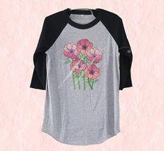 Anemone bouquet tshirt flower tee /raglan shirt/ sleeve tee size S M L XL plus size tshirt Outfits For Teens, Cute Outfits, Anemone Bouquet, Grey Shirt, T Shirt, Raglan Shirts, Daily Fashion, Monitor, Crew Neck