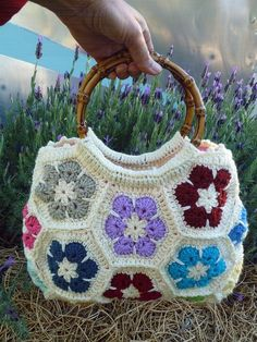 African flower Hexagon Bag by julysu