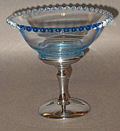 Unusual Blue Candlewick Like Comport Metal Base  http://www.tias.com/cgi-bin/item.fcgi?itemKey=3924154651