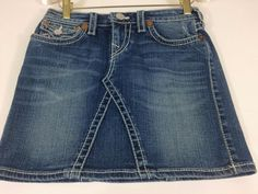 For your favorite younger fashionista! True Religion Joey Big Girls Sz 14 Denim Jean Skirt Teens Distressed Mini Flap