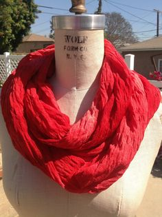 Hey, I found this really awesome Etsy listing at https://www.etsy.com/listing/164783980/red-ombre-gauze-infinity-scarf