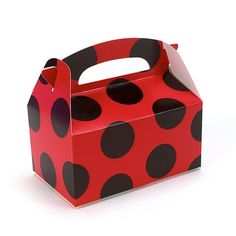 Ladybug Red with Black Dots Empty Birthday Party Favor Boxes | eBay