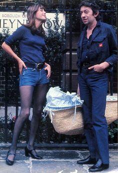 Jane Birkin și Serge Gainsbourg cel mai glam cuplu al anilor Charlotte Gainsbourg, Serge Gainsbourg, Gainsbourg Birkin, Estilo Jane Birkin, Jane Birkin Style, Street Looks, Street Style, 70s Fashion, Vintage Fashion