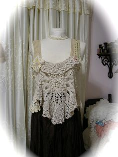 Magnolia Doily Top, romantic shabby n chic, vintage crocheted doilies in antique white and creme, MEDIUM