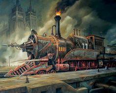 Steampunk train - other & abstract background wallpapers on desktop Steampunk Kunst, Steampunk Artwork, Steampunk Airship, Gothic Steampunk, Victorian Gothic, Gothic Lolita, Art Nouveau, Claude Monet, Machine Volante