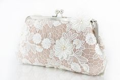Ivory Bridal Lace Clutch with Freshwater Pearls in Ivory by ANGEEW, $100.00