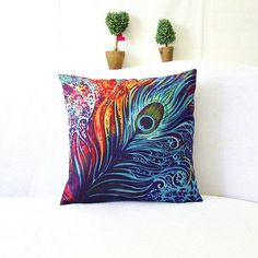 HD print 45x45cm car seat cushions Home decorative pillow pillowcase Color feather printing