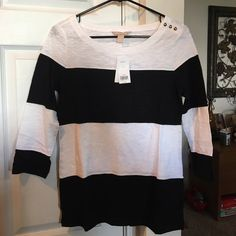 """Banana Republic top New with tags. Black and white. Cute shoulder detail. 26"""" Banana Republic Tops"""
