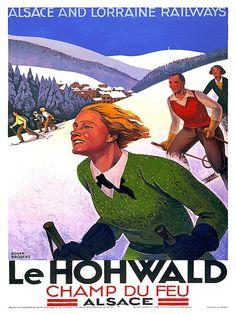 Frankrijk Ski Wall Art Print skiën Vintage reizen door Blivingstons