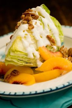 Check out what I found on the Paula Deen Network! Peach Pecan Iceberg Wedges http://www.pauladeen.com/peach-pecan-iceberg-wedges