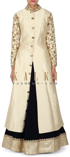 Buy this Navy blue lehenga with cream jacket blouse only on Kalki