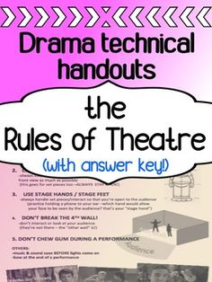 Drama - The first week -Technical Theatre for high school - The Rules of Theatre Musical Theatre Auditions, Drama Theatre, Children's Theatre, Drama Teacher, Drama Class, Drama Drama, Drama Activities, Drama Games, Middle School Drama