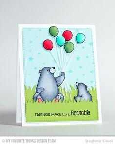 card critters bear bears balloon balloons MFT birthday bears Die-namics #mftstamps