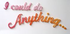 Threaded Works from Dominique Falla | Using thread, nails, and immeasurable patience, Dominique creates these intricately woven and brightly colored messages on walls | via anthology magazine