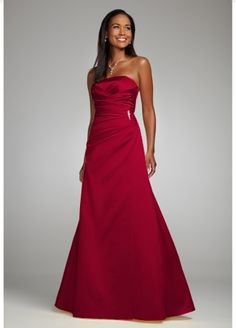 Perfect for a more formal affair, this satin style is timeless and sophisticated.  Strapless bodice features side-drape accented for a flattering effect and brooch detail for added sparkle.  A-line silhouette is slimming on all shapes and sizes.  Fully lined. Back zip. Imported polyester. Hand wash or dry clean.  To protect your dress, our Non Woven Garment Bag is a must have!  Select colors are on sale. Please click color and size to view pricing.  *SPECIAL VALUE! Was , Now ! (final ...
