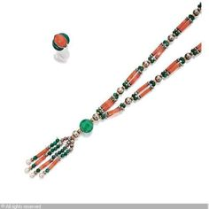 Cartier Sautoir Malachite, cultured pearl and coral