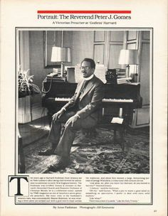 "1980 REVEREND PETER J. GOMES vintage magazine article ~ By Anne Fadiman ~ Portrait: Reverend Peter J. Gomes - A Victorian Preacher at ""Godless"" Harvard - By Anne Fadiman - Photograph: Jill Krementz ~"