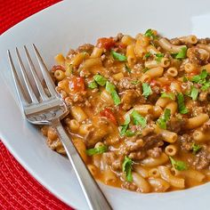 Cheeseburger Macaroni, alias Chili-Cheese Macaroni. alias Mexi-mac. It's like how Hamburger Helper would taste if it were good.