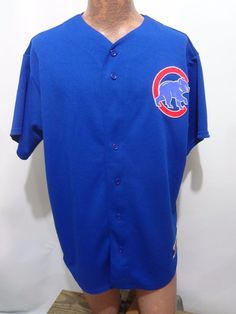 Chicago Cubs Baseball MLB Majestic Blue Jersey Mens Size L Old Style Made in USA #Majestic #ChicagoCubs