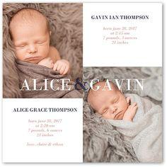 Birth Announcement: Simply Twins, Square Corners, White