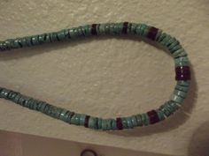 "Handmade Navajo Native American Unisex Heshi Turquoise and Spiny Oyster Shell Necklace 23"" by DeDaCreations, $49.00"